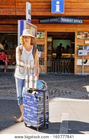 Tourist At City Center Of Zermatt
