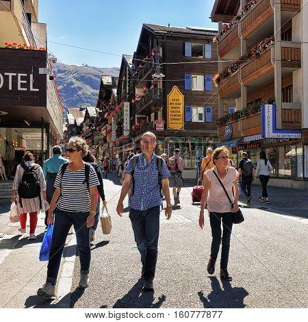 Tourists At City Center Of Zermatt Valais