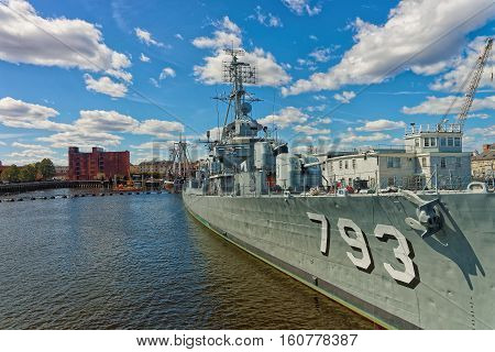 Back Of The Uss Cassin Young Ship Moored In Boston