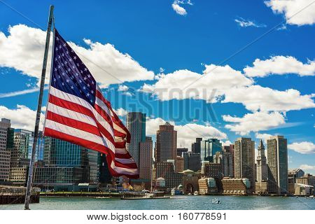 Boston Skyline And The United States National Flag