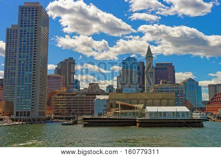 Harbor And Skyline Of Financial District In Boston