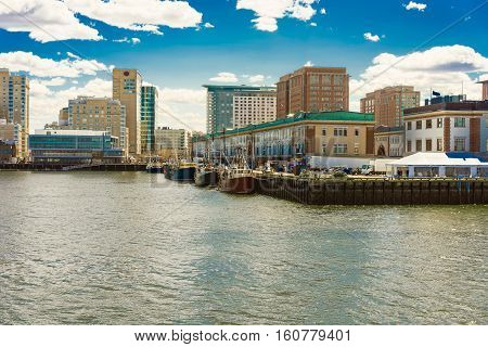 Harbor In Boston Wharf In Charles River Boston