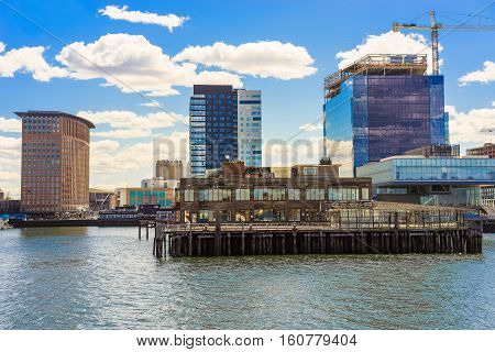 Harbor In Boston Wharf At Charles River Boston