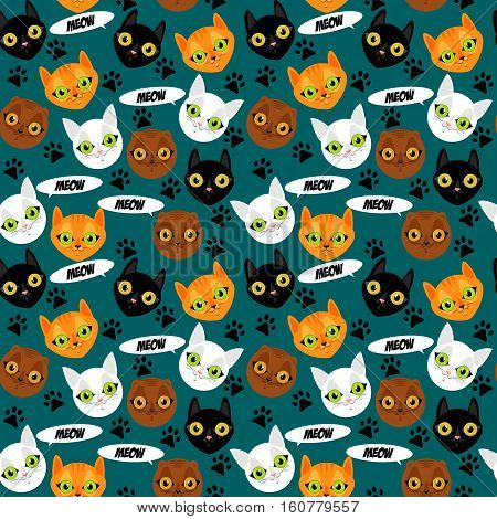 Cute cats faces colorful seamless pattern background. Meow cats and footprints. Vector illustration.