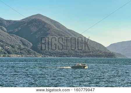 Motor Boat At Pier In Ascona In Ticino In Switzerland