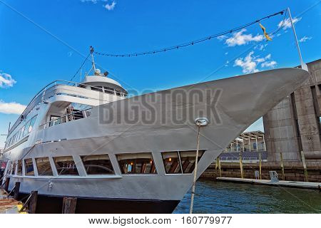 Nose Of The Yacht Moored In The Bay In Boston