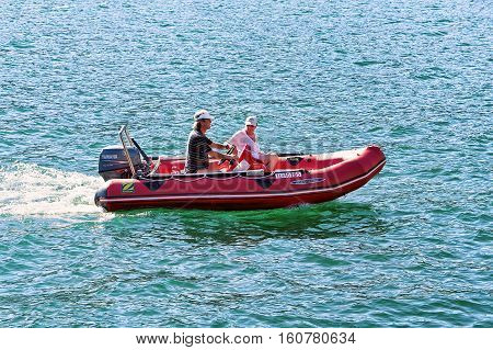 People In The Boat In Ascona On Lake Maggiore