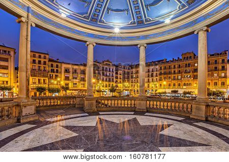 View from bandstand on Plaza del Castillo square in the evening Pamplona Navarre Spain