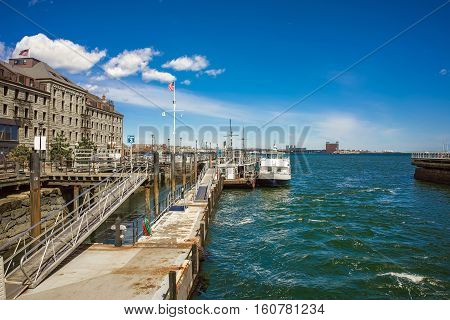 Pier Of Long Wharf With Customhouse Block And Sailboat