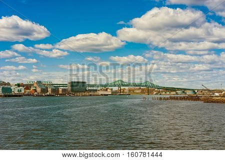 Skyline Of Boston And Tobin Bridge In The Long Distance