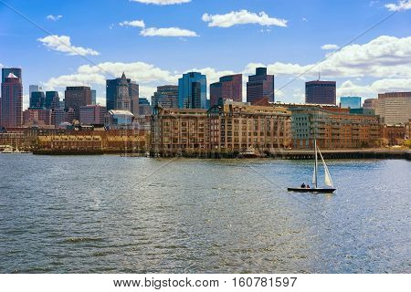 Skyline Of Boston And Sailboat During The Sunny Day