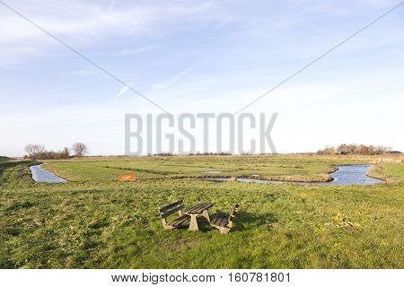 picknick area and meadows in waterland noord-holland in countryside north of amsterdam
