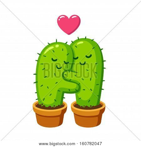 Cactus hug vector drawing. Cute cartoon cactus couple in love funny illustration.