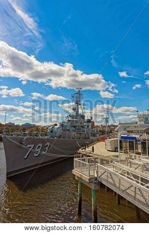 Uss Cassin Young Ship Moored At The Pier In Boston