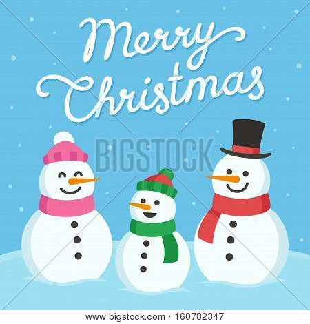Cute Christmas greeting card. Cartoon snowman family (mom dad and child) with text Merry Christmas.