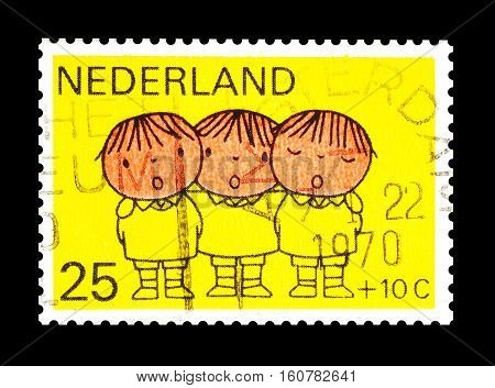 NETHERLANDS - CIRCA 1970 : Cancelled stamp printed by Netherlands, that shows Drawing.