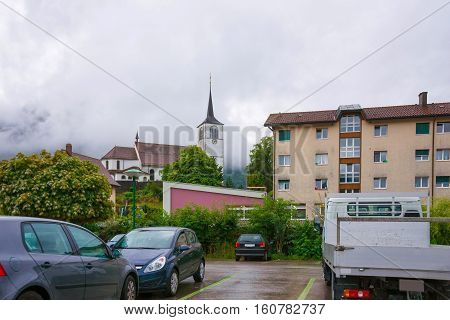 Church In Charmey Town On Prealps In Gruyere Fribourg Switzerland