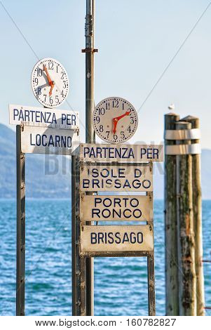 Clock At Pier At Ascona Resort Of Ticino Canton Switzerland
