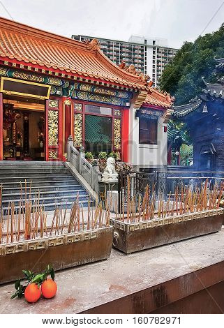 Fragment Of Wong Tai Sin Temple In Kowloon Of Hong Kong