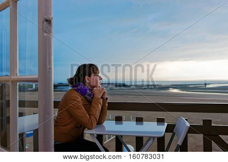 Girl And English Channel In Trouville In Calvados Normandy