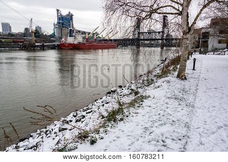 Portland Waterfront In Winter
