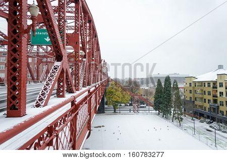 Snowy Broadway Bridge