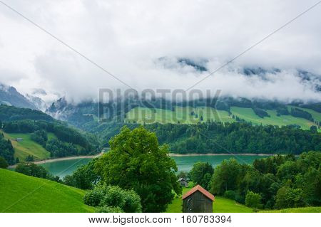 Lake Montsalvens At Prealps In Gruyere District Canton Fribourg Swiss