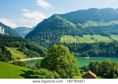 Lake Montsalvens Of Prealps In Gruyere District Canton Fribourg Switzerland