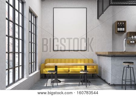 Close up of a yellow sofa in a cafe with small tables and a bar. Large vertical poster on a concrete wall. 3d rendering. Mock up.