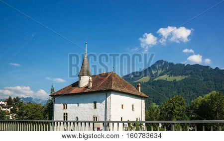 Mansion At Charmey Prealps Mountains In Gruyere District Fribourg Switzerland