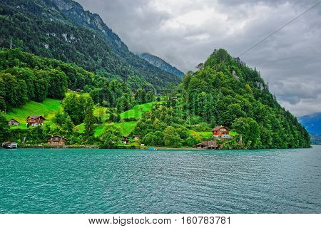 Panorama Of Brienz Lake And Brienzer Rothorn Mountain Bern Swiss