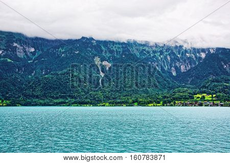 Panorama On Brienz Lake And Brienzer Rothorn Mountain Bern Swiss