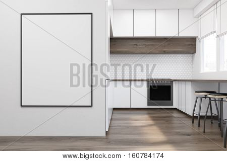 Modern kitchen interior with white furniture wooden table and an oven. A framed poster is hanging on a wall. Concept of a comfy flat. 3d rendering. Mock up