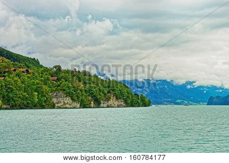 Panorama On Lake Brienz And Brienzer Rothorn Mountain Bern Switzerland