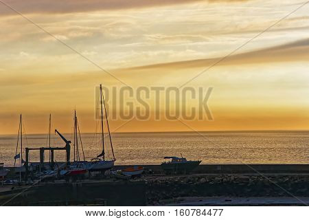 Sunset At English Channel Of Trouville Of Calvados Normandy France