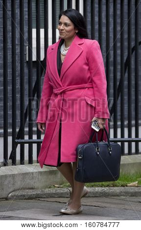 LONDON, UK, OCT 18, 2016: International Development Secretary Priti Patel MP attends a cabinet meeting at Downing Street