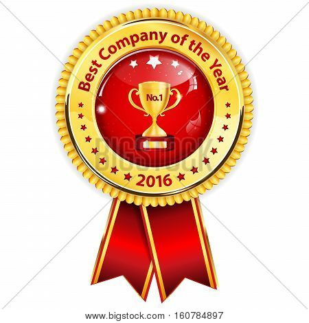 Best Company of the year 2016 - golden red award ribbon / distinction for business purposes. Recognition gifts & appreciation gifts