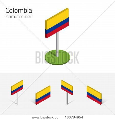 Colombian flag (Republic of Colombia) vector set of isometric flat icons 3D style different views. 100% editable design elements for banner website presentation infographic poster map. Eps 10