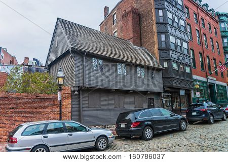 Paul Revere House At North Square In Boston