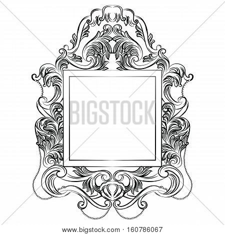 Exquisite Fabulous Imperial Baroque Mirror frame. Vector French Luxury rich intricated ornaments and crystals. Victorian Royal Style decor