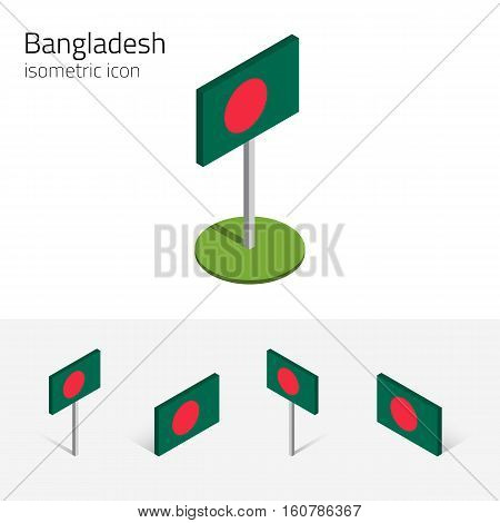 Bangladeshi flag (People's Republic of Bangladesh) vector set of isometric flat icons 3D style different views. Editable design elements for banner website presentation infographic map. Eps 10