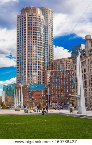 Post Office Square And Skyline With Skyscrapers Downtown Of Boston