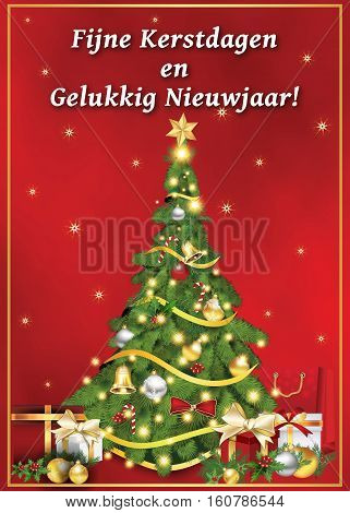 Fijne Kerstdagen en Gelukkig Nieuwjaar! - dutch language: Merry Christmas and Happy New Year! corporate printable greeting card with Christmas tree, Christmas decoration. Size of a custom postcard.