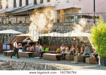 Street Restaurant In Ascona Switzerland