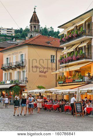 Street Restaurant In Ascona Town Switzerland