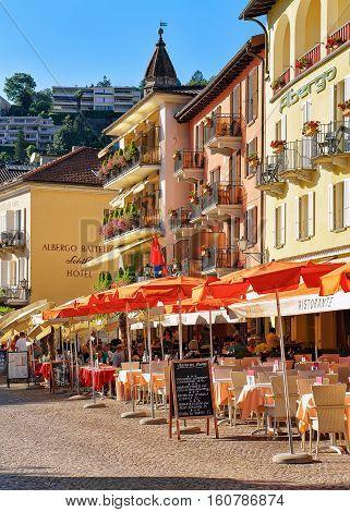 Street Restaurant In Ascona Town Of Switzerland