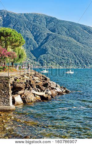 Swiss Flag In Ascona Expensive Resort In Ticino In Switzerland