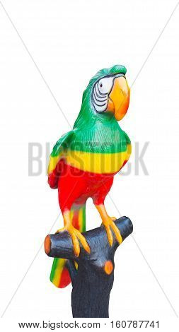 Big Parrot on white background. Isolated parrot mold. The parrot on stick.