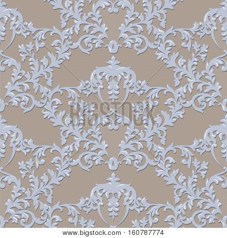 Baroque Luxury Ornament lace decorated. Vector Vintage Imperial Baroque pattern. Damask floral decor. Royal Victorian texture for wallpapers, textile, fabric. blue and taupe color