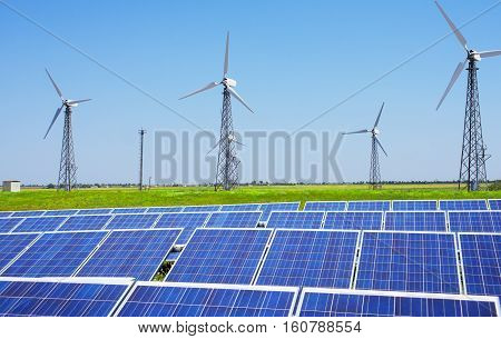 Modern solar station with blue panels and windfarm with wind turbines stand in field with green grass under blue sky.